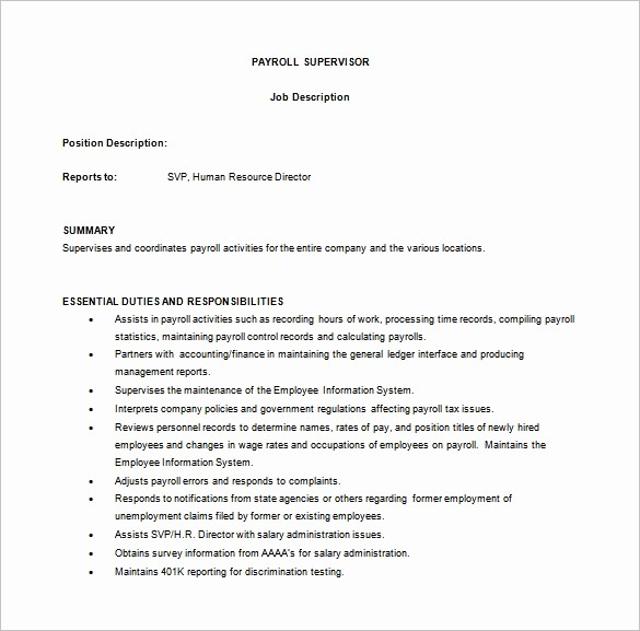 Employee Duties and Responsibilities Template Awesome 9 Supervisor Job Description Templates