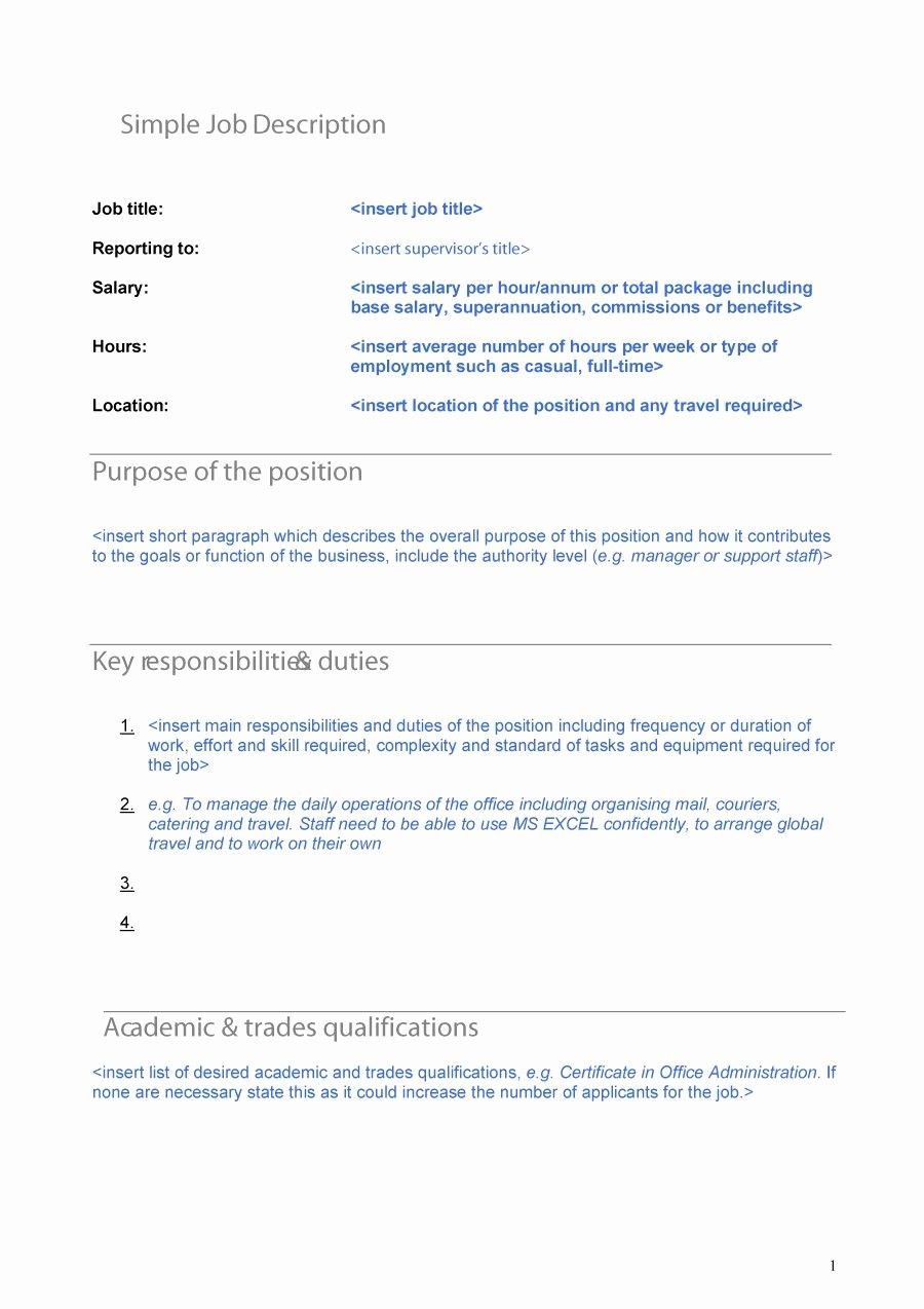 Employee Duties and Responsibilities Template Inspirational 49 Free Job Description Templates & Examples Free