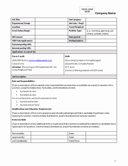 Employee Duties and Responsibilities Template Inspirational Job Description form