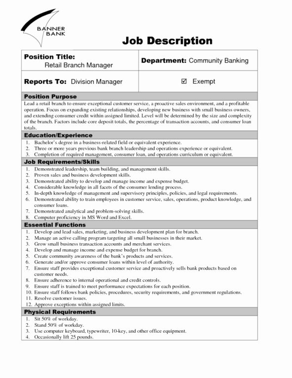 Employee Duties and Responsibilities Template Lovely 9 Job Description Templates Word Excel Pdf formats