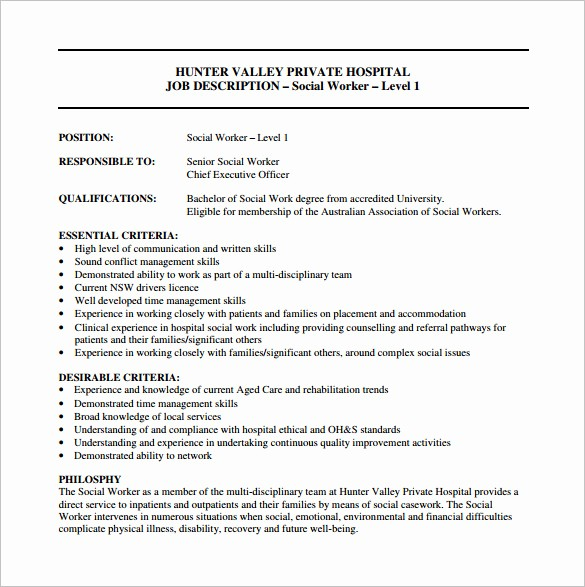 Employee Duties and Responsibilities Template Lovely 9 social Worker Job Description Templates – Free Sample