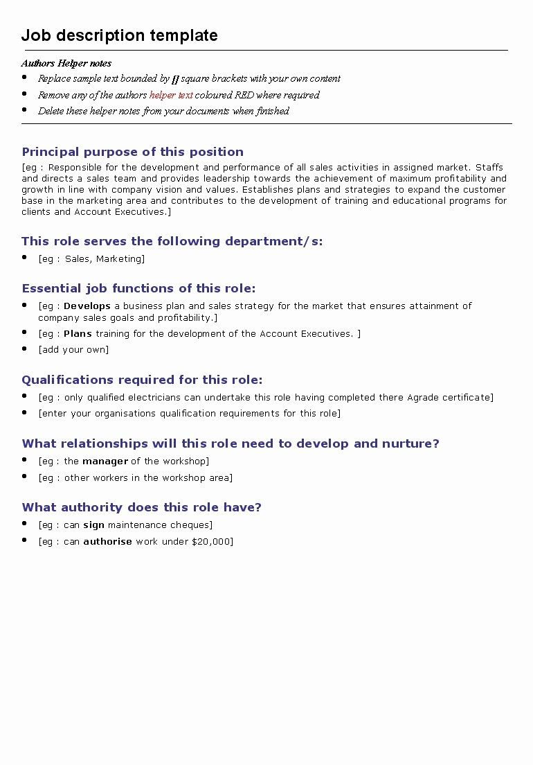 Employee Duties and Responsibilities Template Luxury Job Description Template