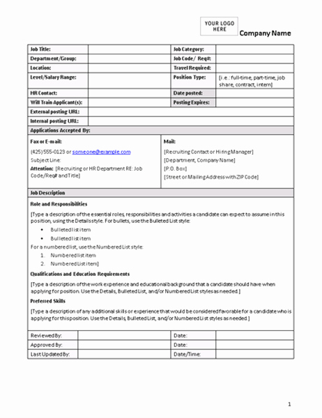 Employee Duties and Responsibilities Template New Job Description form