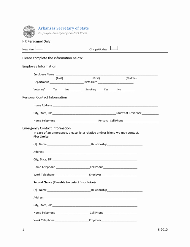 Employee Emergency Contact form Word Awesome Employee Emergency Contact forms Find Word Templates