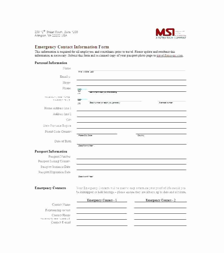 Employee Emergency Contact form Word Awesome Free Emergency Contact forms for Employees New Update