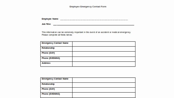 Employee Emergency Contact form Word Awesome Sample Employee Emergency Contact form 6 Free Documents