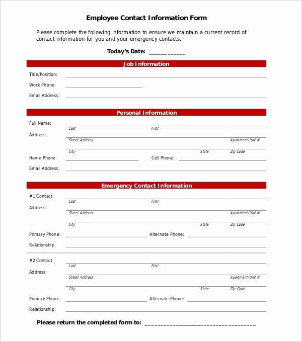 Employee Emergency Contact form Word Beautiful 11 Sample Employee Information forms
