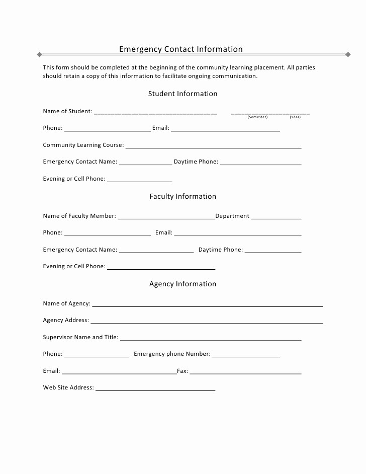 Employee Emergency Contact form Word Beautiful Student Emergency Contact Information