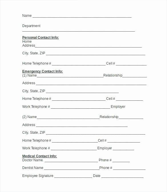 Employee Emergency Contact form Word Elegant 15 Employee Information Sheets