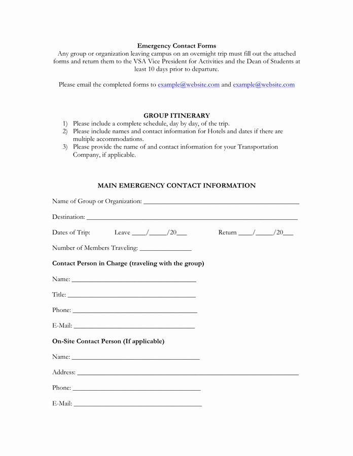 Employee Emergency Contact form Word Elegant Emergency Contact form Free Documents for Pdf