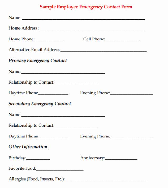 Employee Emergency Contact form Word Elegant Employee Emergency Contact forms Find Word Templates