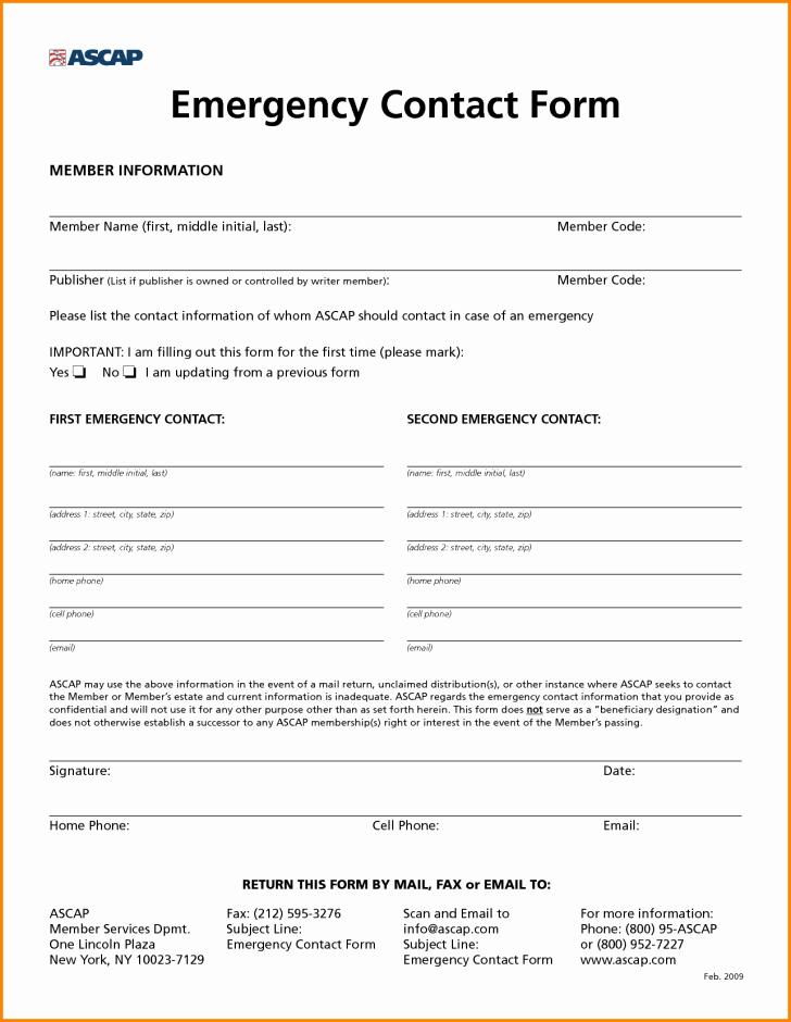 Employee Emergency Contact form Word Elegant Employee Employee Emergency Contact form