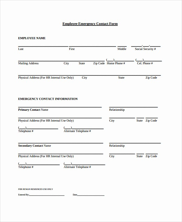 Employee Emergency Contact form Word Fresh 26 Of Contact form Template Word
