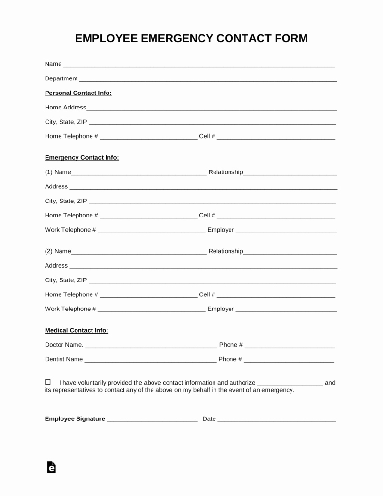 Employee Emergency Contact form Word Fresh Free Employee Emergency Contact form Pdf Word