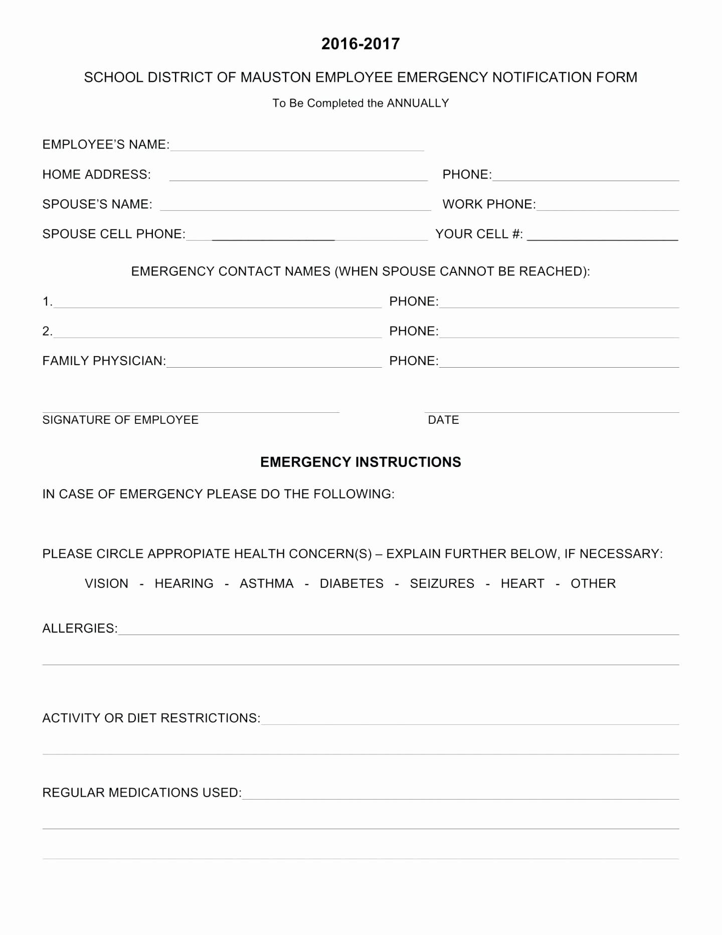 Employee Emergency Contact form Word Fresh Template Employee Emergency Contact Template