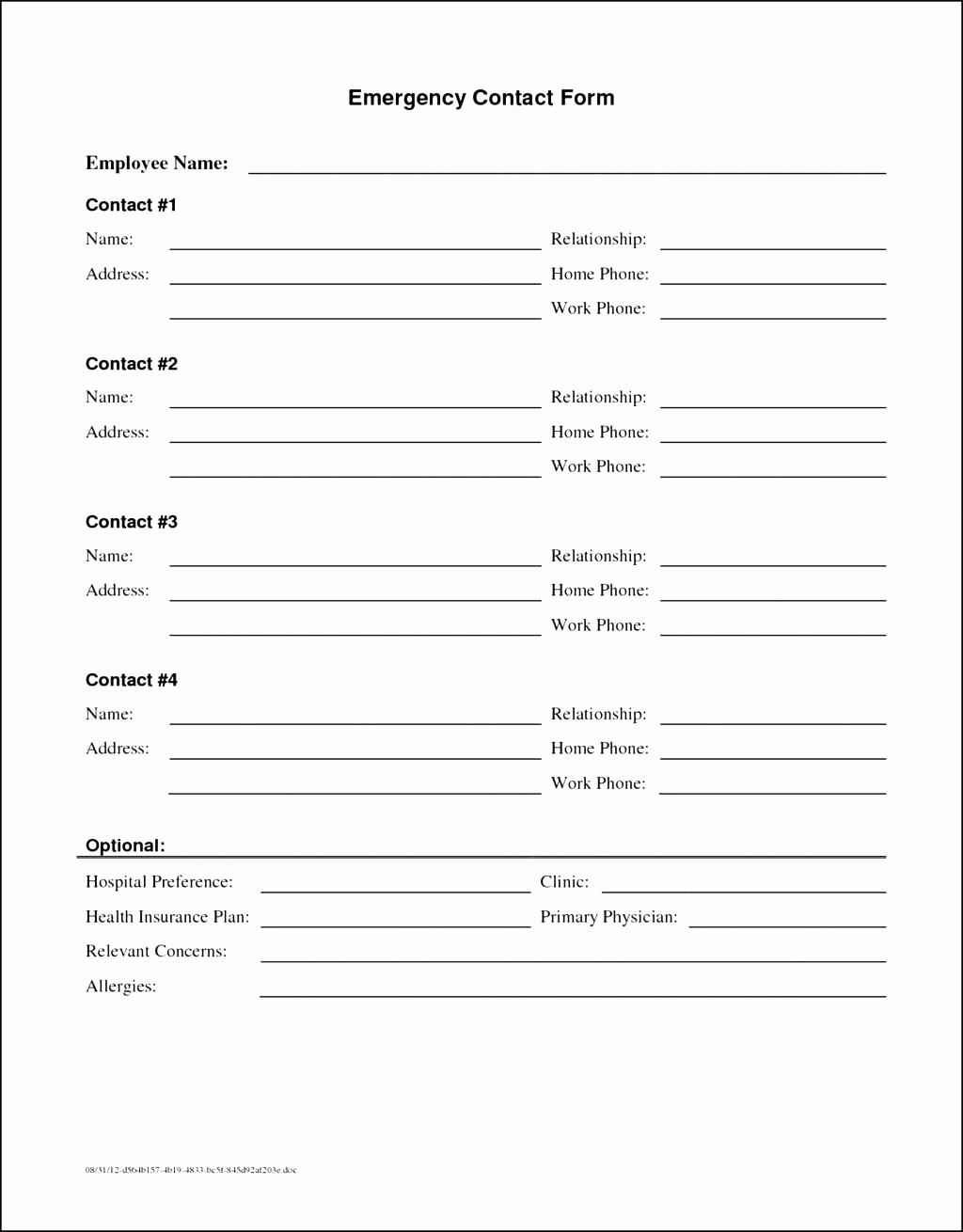 Employee Emergency Contact form Word Fresh Template Employee Emergency Contact Template
