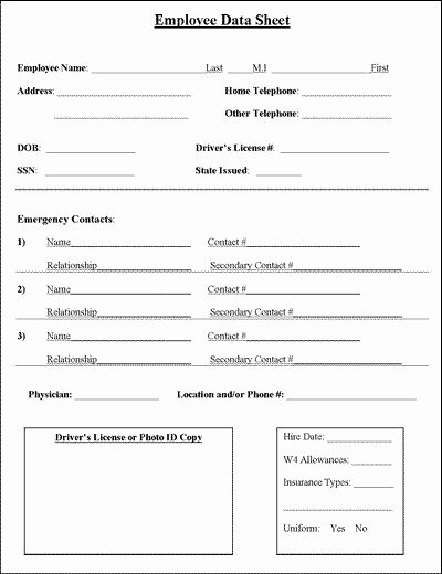 Employee Emergency Contact form Word Inspirational Employee Information Sheet Business