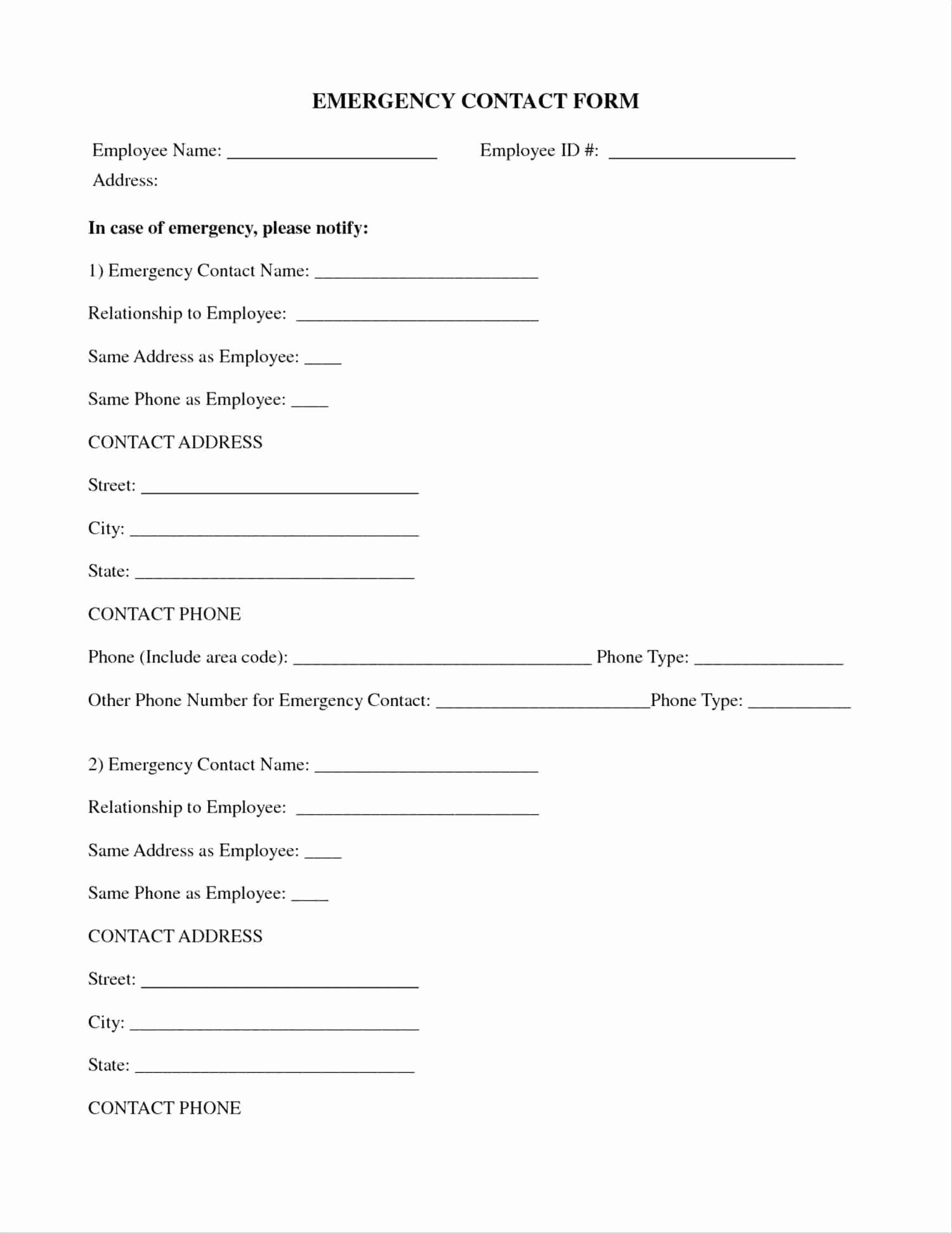 Employee Emergency Contact form Word Inspirational Template Employee Emergency Contact form Template
