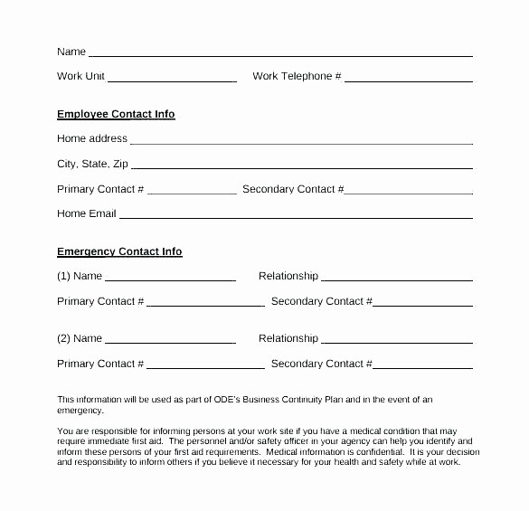 Employee Emergency Contact form Word Lovely Employee Emergency Contact Template Emergency Contact Card