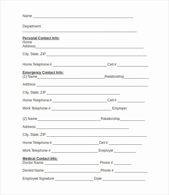 Employee Emergency Contact form Word Luxury 12 Sample Emergency Contact forms to Download