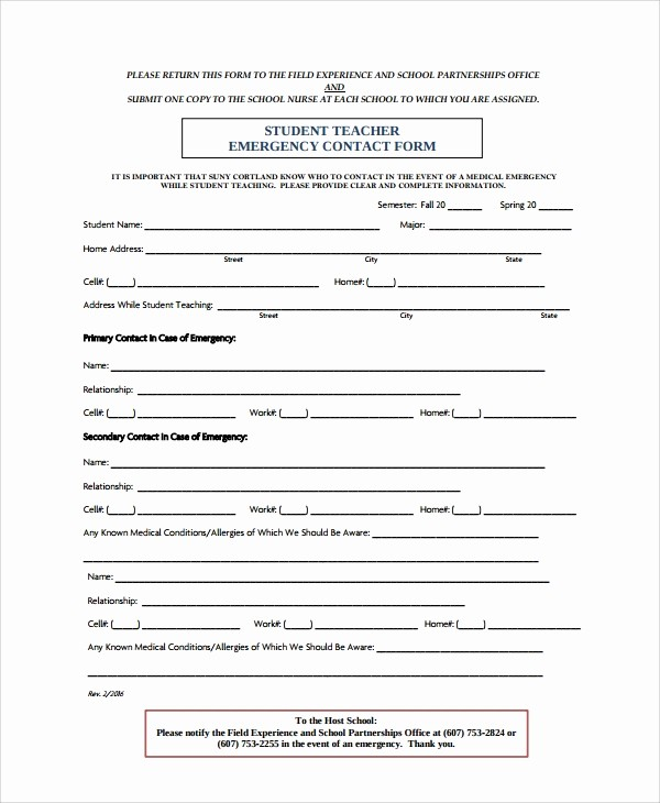 Employee Emergency Contact form Word New 8 Emergency Contact form Samples Examples Templates