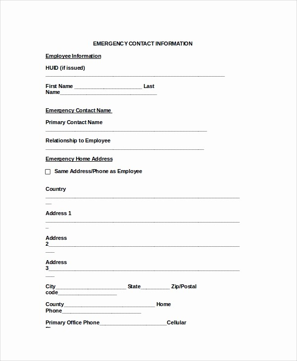 Employee Emergency Contact form Word Unique 8 Emergency Contact form Samples Examples Templates