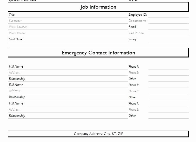 Employee Emergency Contact form Word Unique Contact List Template Emergency Free Word Documents