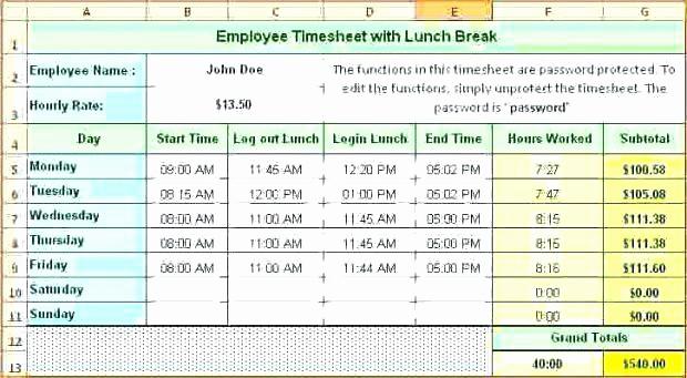 Employee Lunch Break Schedule Template Fresh Employee Break and Lunch Schedule Template – Construktorfo