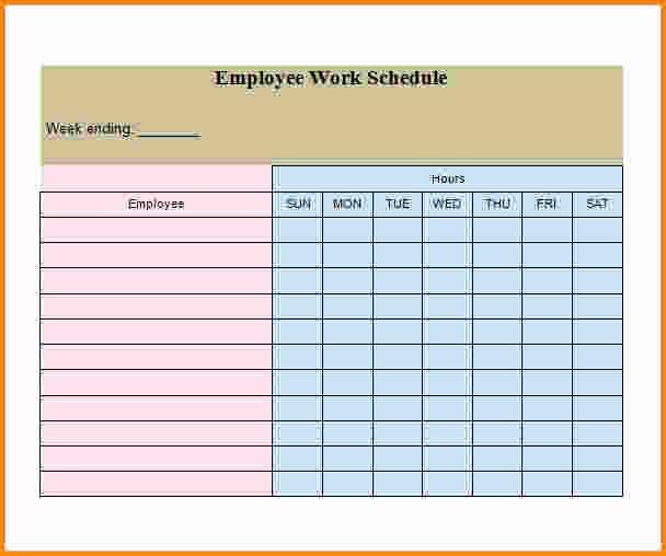 Employee Monthly Work Schedule Template Awesome 7 Weekly Employee Schedule Template