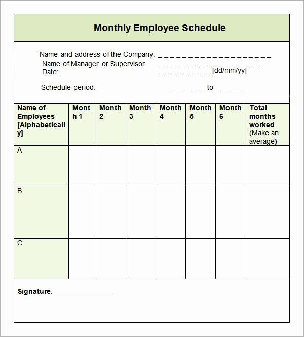 Employee Monthly Work Schedule Template Awesome 9 Sample Monthly Schedule Templates to Download