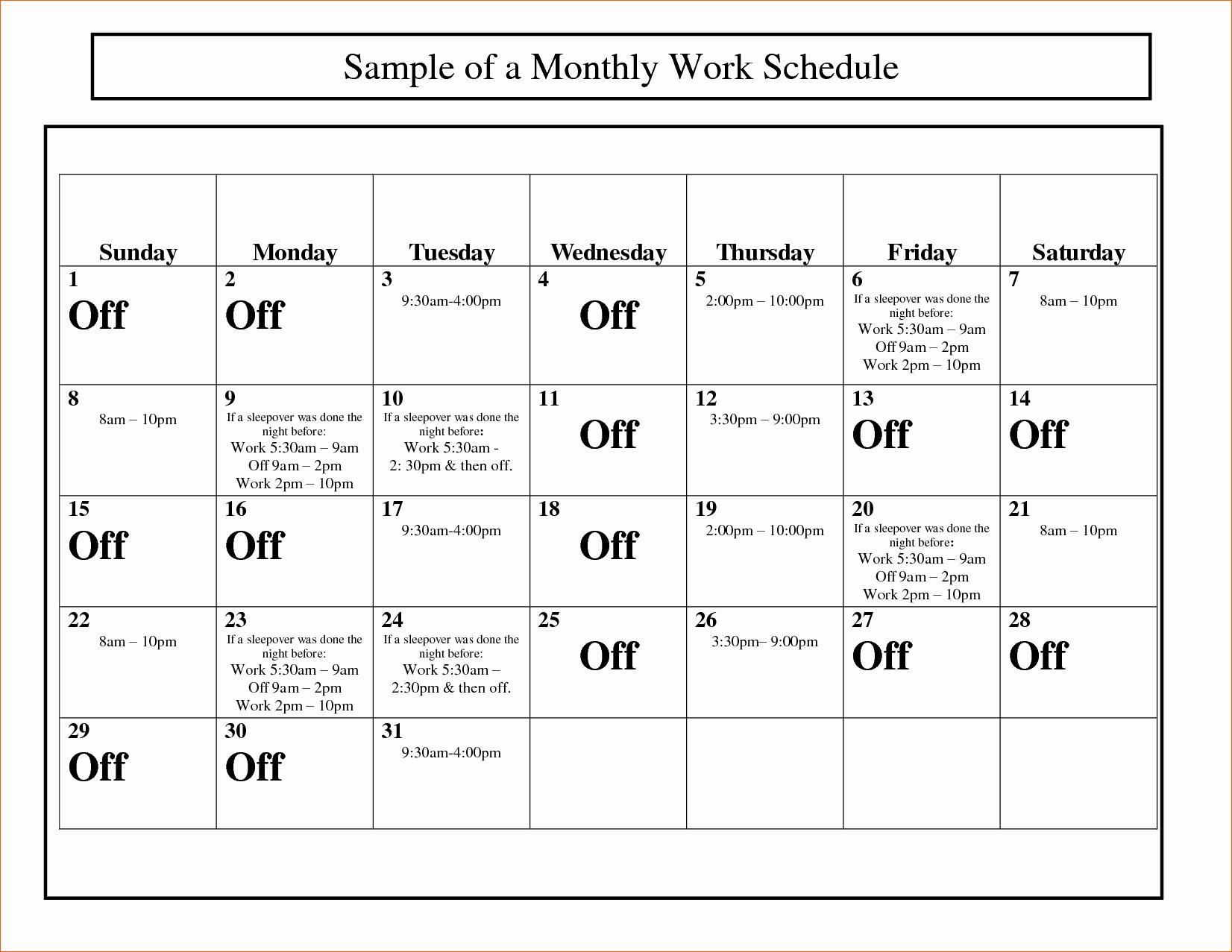 Employee Monthly Work Schedule Template Best Of 10 Monthly Work Schedule Template