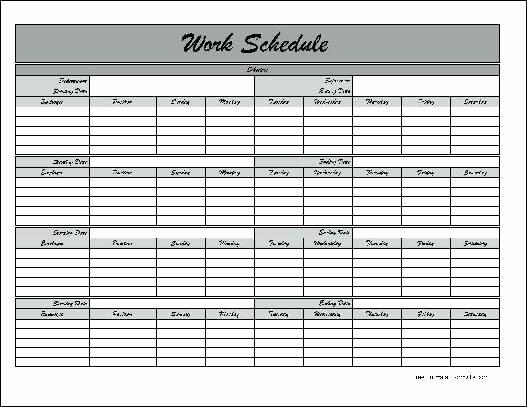 free printable work schedule template