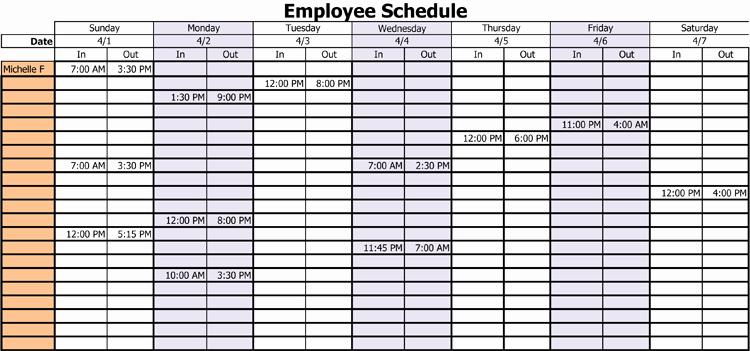 Employee Monthly Work Schedule Template Fresh 3 Professional Work Schedule Templates for Employees