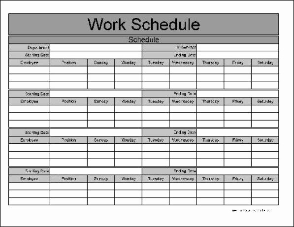 Employee Monthly Work Schedule Template Inspirational Free Printable Weekly Work Schedule Template Excel Template