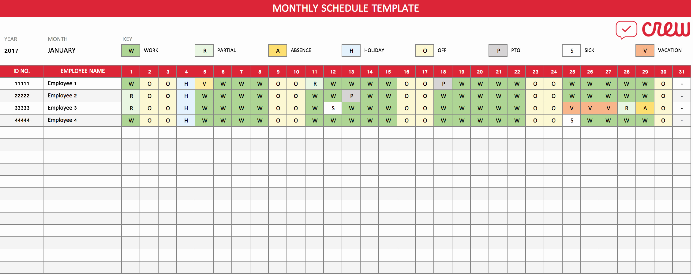 Employee Monthly Work Schedule Template New Free Monthly Work Schedule Template Crew