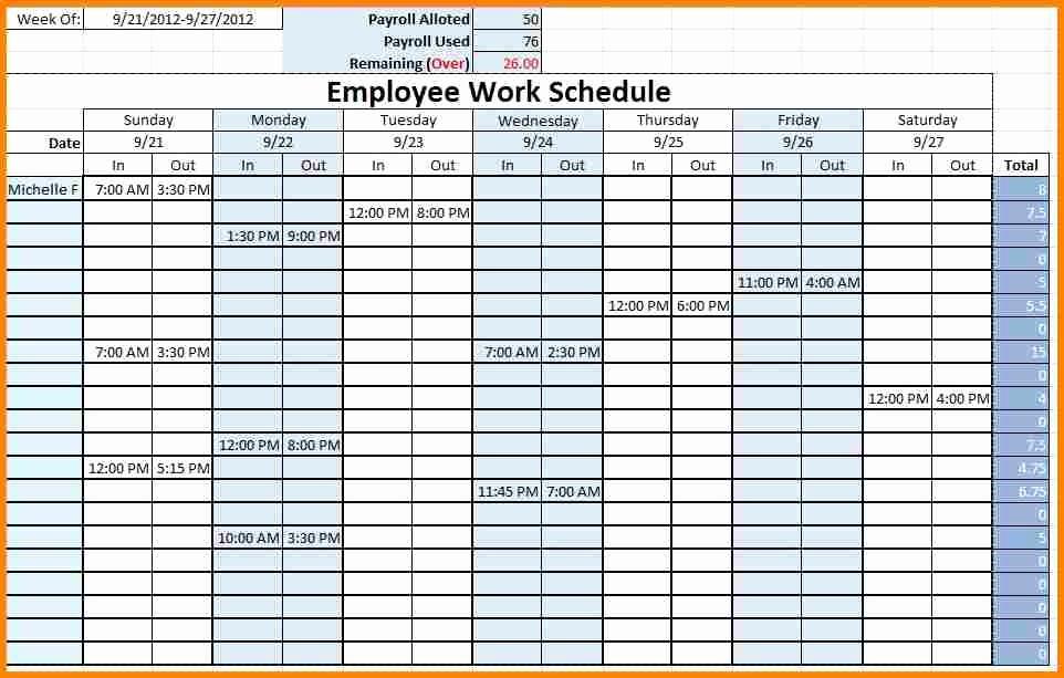 Employee Monthly Work Schedule Template New Monthly Employee Schedule Template Excel