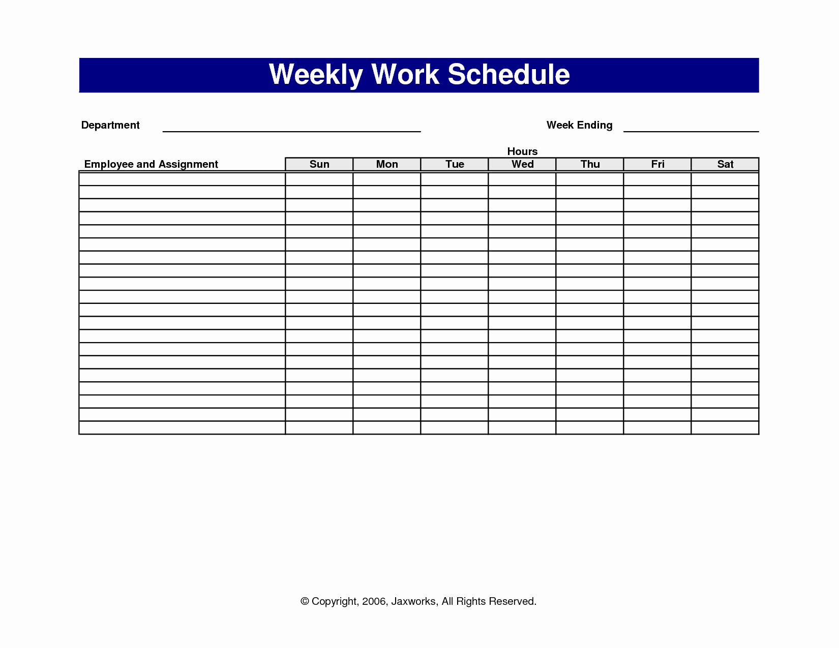 Employee Monthly Work Schedule Template Unique 18 Blank Weekly Employee Schedule Template Blank