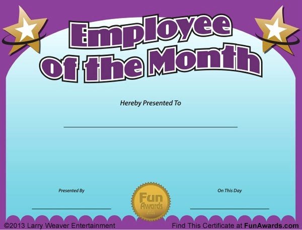 Employee Of the Day Certificate Awesome Employee Of the Month