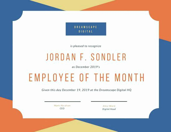 Employee Of the Day Certificate Beautiful Employee Award Diploma Certificate Template Pletion