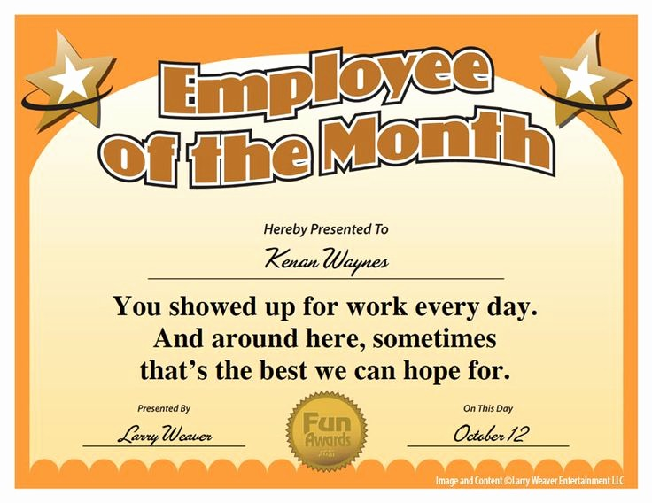 Employee Of the Day Certificate Elegant 16 Best Images About Funny Employee Awards On Pinterest