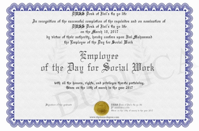 Employee Of the Day Certificate Elegant Employee Of the Day for social Work