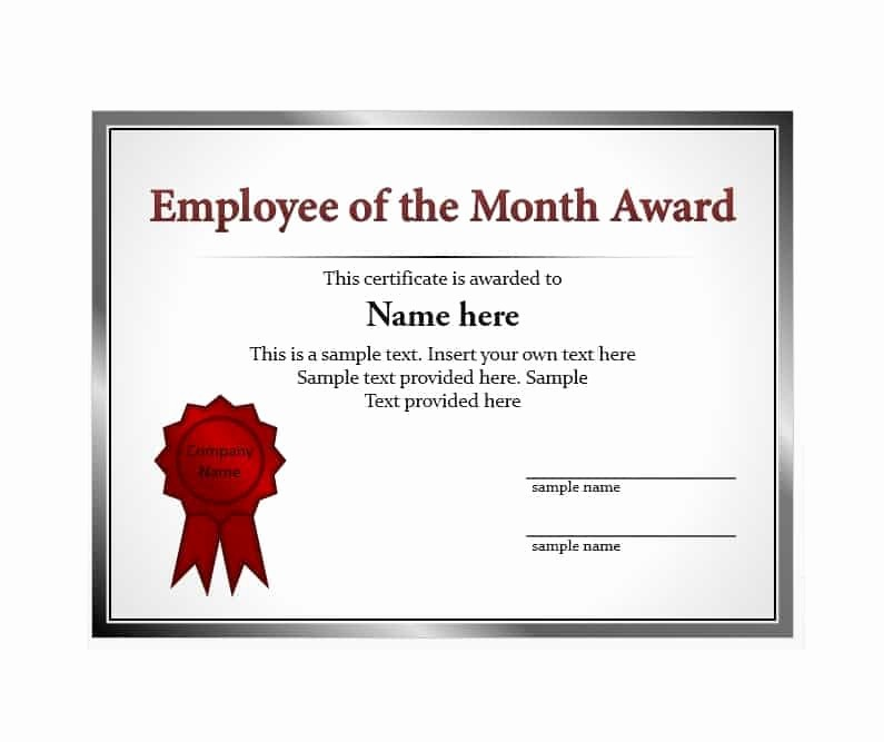 Employee Of the Day Certificate Fresh 30 Printable Employee Of the Month Certificates
