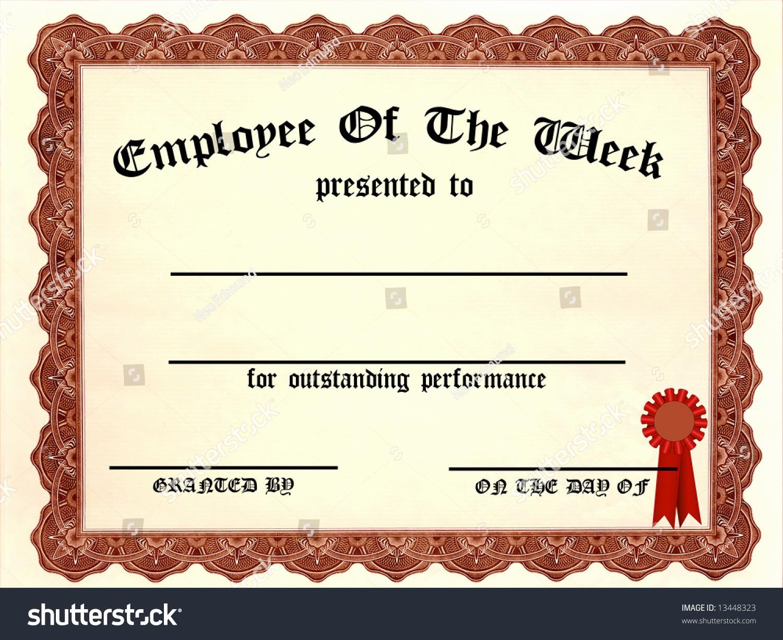 Employee Of the Day Certificate Luxury Employee Week Certificate Fill Blanks Stock Illustration