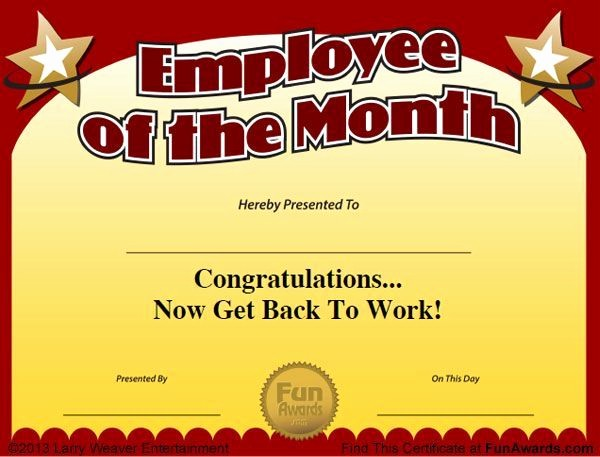"Employee Of the Day Certificate Luxury ""101 Funny Employee Awards"" now Contains Funny Employee Of"