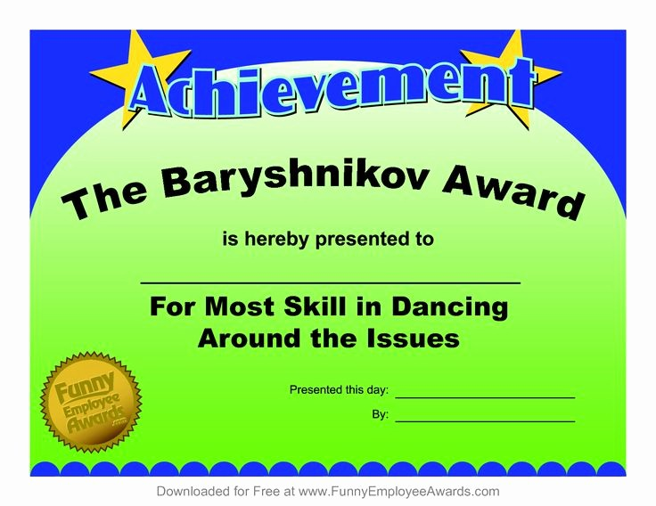 Employee Of the Day Certificate New 16 Best Images About Funny Employee Awards On Pinterest