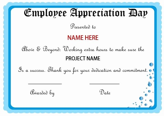 Employee Of the Day Certificate Unique 20 Free Certificates Appreciation for Employees