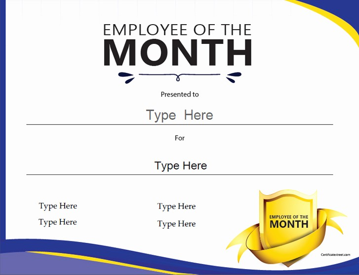 Employee Of the Day Certificate Unique Certificate Street Free Award Certificate Templates No