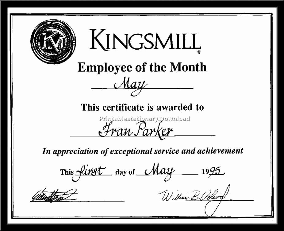 Employee Of the Day Certificate Unique Employee the Month Certificate Wording – Creative Advice