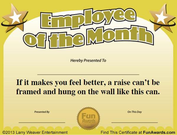 Employee Of the Month Free Elegant Funny Award Ideas