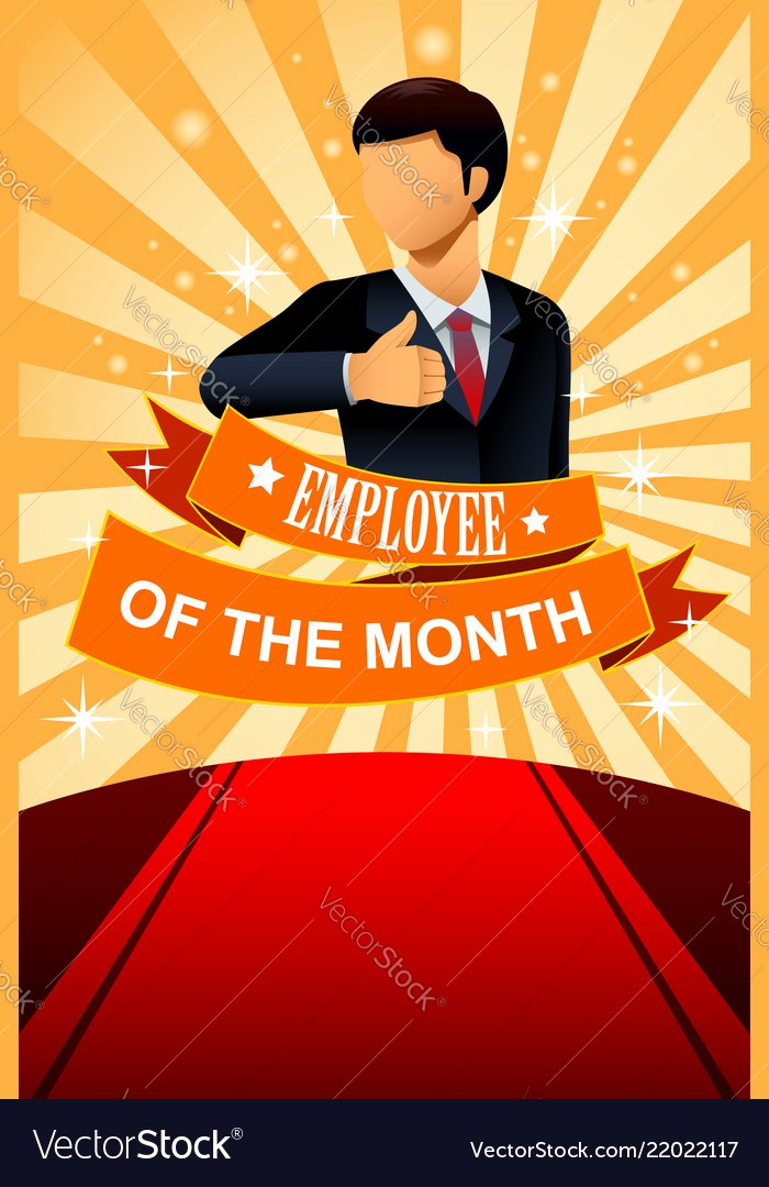 Employee Of the Month Free Fresh Employee Of the Month Poster Frame Royalty Free Vector Image